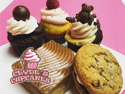 Clyde's Cupcakes badge ad